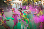 Students of the Caribbean Association (SOCA) and classmates celebrate J'ouvert, which kicks off the annual Carnival festivities, at the Baldwin Quad on Duke University's East Campus. Carnival was brought to Trinidad by French settlers in the latter part of the eighteenth century. Originally the celebration was confined to the elite, but it was imitated and adapted by their slaves and, after the abolition of slavery in 1834, the practice spread into the free population.