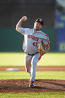 Aberdeen Ironbirds starting pitcher Lucas Humpal (43) delivers a pitch during a game against the Batavia Muckdogs on July 14, 2016 at Dwyer Stadium in Batavia, New York.  Aberdeen defeated Batavia 8-2. (Mike Janes/Four Seam Images)