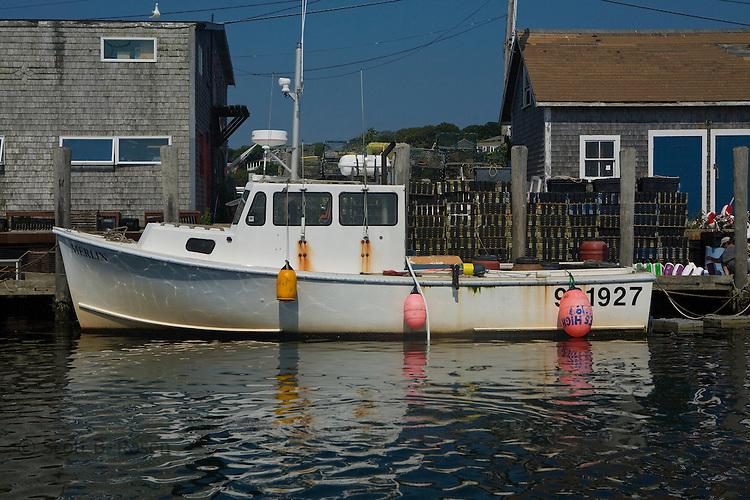Fishing boat docked in Menemsha Harbor, Martha's Vineyard, Massachusetts