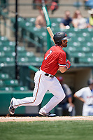 Rochester Red Wings right fielder Ryan LaMarre (7) follows through on a swing during a game against the Lehigh Valley IronPigs on July 1, 2018 at Frontier Field in Rochester, New York.  Rochester defeated Lehigh Valley 7-6.  (Mike Janes/Four Seam Images)