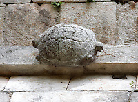 Detail of a turtle, The Turtle House, Puuc architecture, Uxmal late classical Mayan site, flourished between 600-900 AD, Yucatan, Mexico. Picture by Manuel Cohen