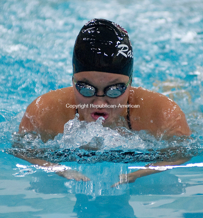 WATERBURY, CT -10 OCTOBER 2012--101012JS08- ACTION MAN FIRST EDITION-Torrington's Hailey Ross competes in the 200 medley relay during their meet against Holy CrossWednesday at Kennedy High School in Waterbury.   .Jim Shannon Republican-American