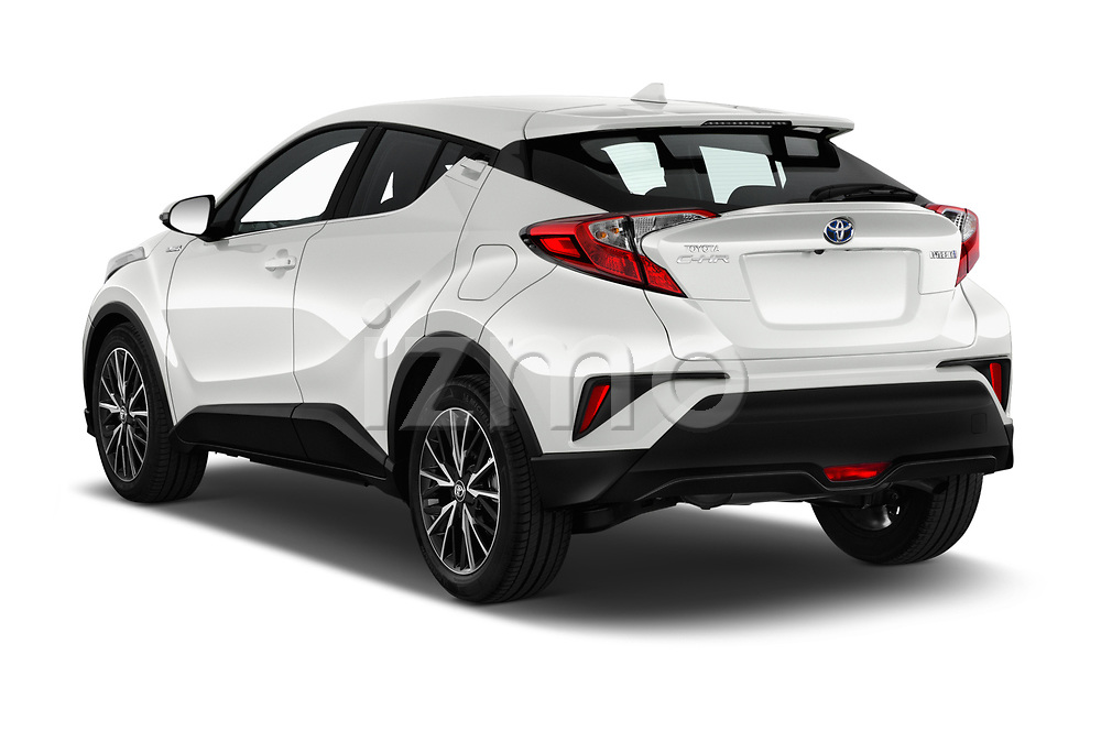 Car pictures of rear three quarter view of a 2018 Toyota C-HR C-LUB 5 Door SUV angular rear