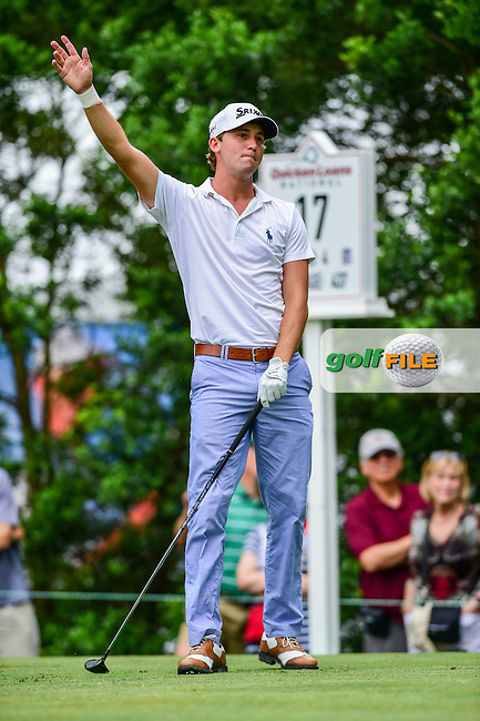Smylie Kaufman (USA) watches his tee shot on 17 during round 2 of the 2016 Quicken Loans National, Congressional Country Club, Bethesda, Maryland, USA. 6/24/2016.<br /> Picture: Golffile | Ken Murray<br /> <br /> <br /> All photo usage must carry mandatory copyright credit (&copy; Golffile | Ken Murray)