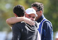 Andy Sullivan (Team Europe) hugging Rory McIlroy (Team Europe) during Thursday's Practice Round ahead of The 2016 Ryder Cup, at Hazeltine National Golf Club, Minnesota, USA.  29/09/2016. Picture: David Lloyd | Golffile.