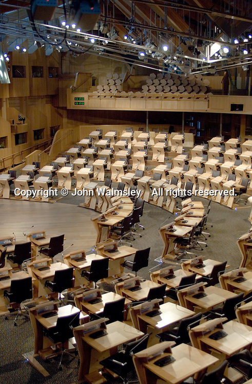 Inside the debating chamber at the new Scottish Parliament building at Holyrood, Edinburgh.  Designed by Spanish architect, Enric Miralles.