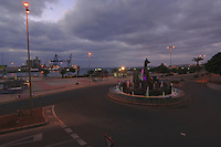 Roundabout and tourist office early morning, next to the harbour of Puerto del Rosario, Fuerteventura, Canary Islands, Spain.