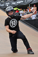 19 August, 2012:  Zachery Warden celebrates  on the BMX Mega 2.0 ramp at the Pantech Beach Championships in Ocean City, Md.  Zack finished in first in the event.