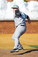 Marshall Thundering Herd relief pitcher Ryan Hopkins (43) throws in the bullpen during the game against the Georgetown Hoyas at Wake Forest Baseball Park on February 15, 2014 in Winston-Salem, North Carolina.  The Thundering Herd defeated the Hoyas 5-1.  (Brian Westerholt/Four Seam Images)