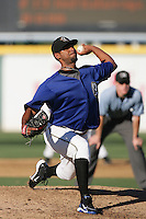 Manny Flores of the Rancho Cucamonga Quakes during game against the Stockton Ports at The Epicenter in Rancho Cucamonga,California on August 15, 2010. Photo by Larry Goren/Four Seam Images