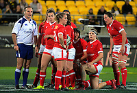 Canada waits to set a scrum during the 2017 International Women's Rugby Series rugby match between the NZ Black Ferns and Canada at Westpac Stadium in Wellington, New Zealand on Friday, 9 June 2017. Photo: Dave Lintott / lintottphoto.co.nz