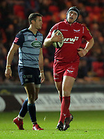 Ryan Elias of the Scarlets in action during the Guinness PRO14 match between Scarlets and Cardiff Blues at Parc Y Scarlets Stadium, Llanelli, Wales, UK. Saturday 28 October 2017