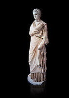 Statue of a female inj the Small Herculaneum Style, Athens Archaeological Museum, Cat no 242. Pentelic marble. Against black<br /> <br /> Copy of earlier famous Greek statue dated 300 BC. The women is depicted wearing a full length chiton and a himation that covers her entire body.