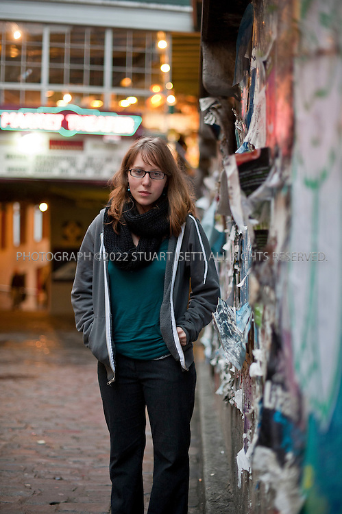 10/26/2010--Seattle, WA, USA..Madison Paxton, a friend of Amanda Knox from her days studying at the University of Washington (UW) in Seattle, WASH. Here she's posing in Seattle Pike's Place Market...©2010 Stuart Isett. All rights reserved.