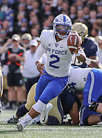 Annapolis, MD - October 7, 2017: Air Force Falcons quarterback Arion Worthman (2) pitches the ball during the game between Air Force and Navy at  Navy-Marine Corps Memorial Stadium in Annapolis, MD.   (Photo by Elliott Brown/Media Images International)