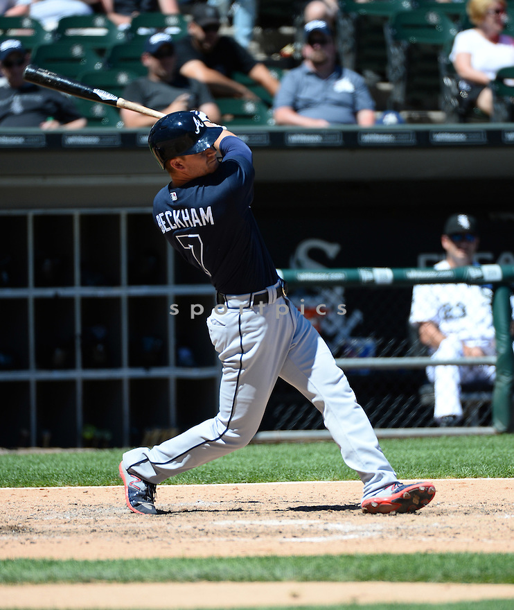 Atlanta Braves Gordon Beckham (7) during a game against the Chicago White Sox on July 9, 2016 at US Cellular Field in Chicago, IL. The White Sox beat the Braves 5-4.