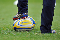 A general view of an Aviva Premiership branded rugby ball. Aviva Premiership match, between London Wasps and Bath Rugby on November 24, 2013 at Adams Park in High Wycombe, England. Photo by: Patrick Khachfe / Onside Images
