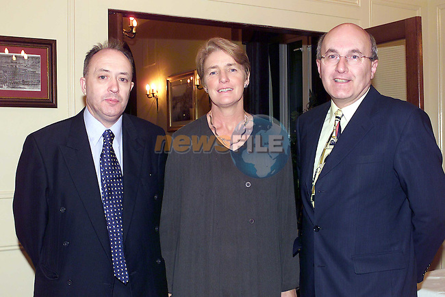 Paddy Kierans with Maura & Raymond Dunne cavan at the CF dinner in the West Court Hotel.Pic Fran Caffrey Newsfile