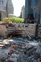 NEW YORK, NY - MAY 12: Construction continues at the World Trade Center site Ground Zero on May 12, 2011 in New York City. More than 2,700 people were killed when hijacked U.S. passenger jets flew into the twin towers of the World Trade Center on September 11, 2001. Nearly ten years after the crippling attacks on Lower Manhattan, business, tourism and new construction like One World Trade Center have rejuvenated the formerly devastated cityscape. (Photo by Per-Anders Pettersson/Getty Images)