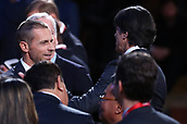 1st December 2017, State Kremlin Palace, Moscow, Russia;  Germany's national football team head coach Joachim Loew (R) shakes hands with UEFA president Aleksander Ceferin (L) during the FIFA 2018 World Cup draw at the State Kremlin Palace in Moscow, Russia