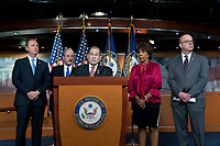 Intelligence Committee Chairman Adam Schiff (Democrat of California), Foreign Affairs Committee Chairman Eliot Engel (Democrat of New York), House Judiciary Committee Chairman Jerrold Nadler (Democrat of New York), Financial Services Committee Chairwoman Maxine Waters (Democrat of California), and Rules Committee Chairman Jim McGovern (Democrat of Massachussetts)   attend a press conference on Capitol Hill in Washington D.C., U.S. on June 11, 2019.  The press conference followed a House vote, where lawmakers passed a bill which allows the House Judiciary Committee to call on Federal judges to enforce Congressional subpoenas. Photo Credit: Stefani Reynolds/CNP/AdMedia