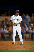 Charlotte Stone Crabs relief pitcher Orlando Romero (29) during a Florida State League game against the Fort Myers Miracle on April 6, 2019 at Charlotte Sports Park in Port Charlotte, Florida.  Fort Myers defeated Charlotte 7-4.  (Mike Janes/Four Seam Images)