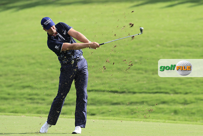 Henrik Stenson (SWE) plays his 2nd shot on the 18th hole during Saturday's Round 3 of the 2017 PGA Championship held at Quail Hollow Golf Club, Charlotte, North Carolina, USA. 12th August 2017.<br /> Picture: Eoin Clarke | Golffile<br /> <br /> <br /> All photos usage must carry mandatory copyright credit (&copy; Golffile | Eoin Clarke)