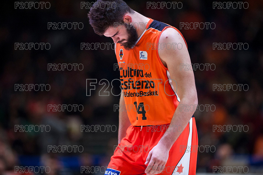 VALENCIA, SPAIN - FEBRUARY 28: Bojan Dubljevic during ENDESA LEAGUE match between Valencia Basket Club and Real Madrid at Fonteta Stadium on   February, 2016 in Valencia, Spain