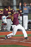 Lou Matarazzo (27) Iona Gaels follows through on his swing against the Rutgers Scarlet Knights at City Park on March 8, 2017 in New Rochelle, New York.  The Scarlet Knights defeated the Gaels 12-3.  (Brian Westerholt/Four Seam Images)