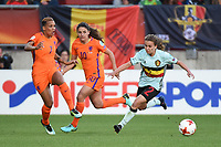20170724 - TILBURG , NETHERLANDS : Belgian Davina Philtjens (R) with Dutch Shanice van de Sanden (L) and Danielle van de Donk (M) pictured during the female soccer game between Belgium and The Netherlands  , the thirth game in group A at the Women's Euro 2017 , European Championship in The Netherlands 2017 , Monday 24 th June 2017 at Stadion Koning Willem II  in Tilburg , The Netherlands PHOTO SPORTPIX.BE | DIRK VUYLSTEKE