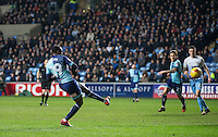 Myles Weston of Wycombe Wanderers fires a shot at goal  during the The Checkatrade Trophy - EFL Trophy Semi Final match between Coventry City and Wycombe Wanderers at the Ricoh Arena, Coventry, England on 7 February 2017. Photo by Andy Rowland.