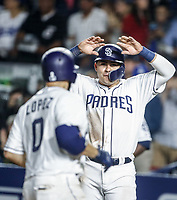Raffy Lopez celebra homerun con Christian Villlanueva.<br /> Baseball action during the Los Angeles Dodgers game against San Diego Padres, the second game of the Major League Baseball Series in Mexico, held at the Sultans Stadium in Monterrey, Mexico on Saturday, May 5, 2018 .<br /> (Photo: Luis Gutierrez)<br /> <br /> Acciones del partido de beisbol, durante el encuentro Dodgers de Los Angeles contra Padres de San Diego, segundo juego de la Serie en Mexico de las Ligas Mayores del Beisbol, realizado en el estadio de los Sultanes de Monterrey, Mexico el sabado 5 de Mayo 2018.<br /> (Photo: Luis Gutierrez)
