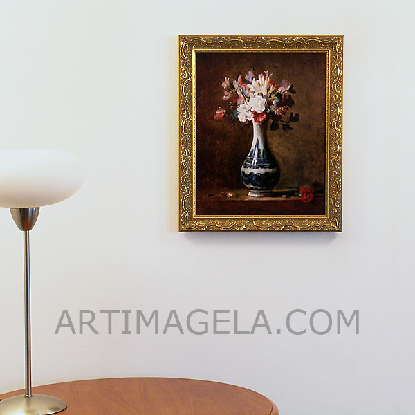 "Chardin: ""Vase of Flowers"", Digital Print, Image Dims. 16"" x 13"", Framed Dims. 19"" x 16"""