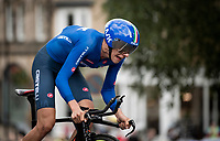eventual race winner and thus 2019 Men Junior Individual Time Trial World Champion Antonio Tiberi (ITA)<br /> <br /> Men Junior Individual Time Trial <br /> 2019 Road World Championships Yorkshire (GBR)<br /> <br /> ©kramon