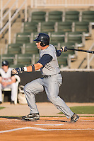 Adam White (8) of the Lake County Captains follows through on his swing at Fieldcrest Cannon Stadium in Kannapolis, NC, Wednesday July 2, 2008. (Photo by Brian Westerholt / Four Seam Images)
