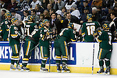 Drew MacKenzie (Vermont - 2), Matt Marshall (Vermont - 17), Jack Downing (Vermont - 21), Josh Burrows (Vermont - 22), Corey Carlson (Vermont - 13), Willie Mitchell (Vermont - Assistant Coach), Kevin Sneddon (Vermont- Head Coach), Patrick Cullity (Vermont - 4), Vermont?, Viktor Stalberg (Vermont - 18), Peter Lenes (Vermont - 3), John Micheletto (Vermont - Associate Head Coach) - The University of Vermont Catamounts defeated the Yale University Bulldogs 4-1 in their NCAA East Regional Semi-Final match on Friday, March 27, 2009, at the Bridgeport Arena at Harbor Yard in Bridgeport, Connecticut.