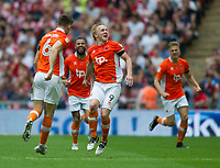 Blackpool's Mark Cullen celebrating after scoring during the Sky Bet League 2 PLAY OFF FINAL match between Exeter City and Blackpool at Wembley Stadium, London, England on 28 May 2017. Photo by Andrew Aleksiejczuk.