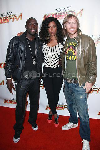 Akon, Kelly Rowland and David Guetta at KIIS FM's Wango Tango 2010 at Staples Center  in Los Angeles, California. May 15, 2010  Credit: Dennis Van Tine/MediaPunch