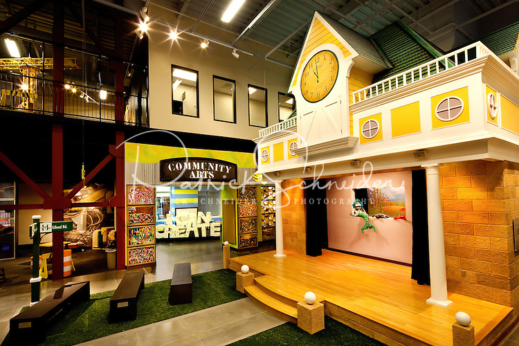 Architectural photography (without people) of Discovery Place Kids (DPK), a children's museum that opened in Huntersville, NC, in October 2010. DPK is a satellite museum for Charlotte-based Discovery Place. The target audience of DPK is birth to seven years. The museum is located within the Huntersville Town Center Project, a public-private venture in downtown Huntersville.