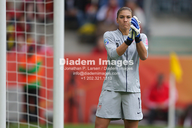 MOENCHENGLADBACH, GERMANY - JULY 13:  Goalkeeper Hope Solo of the United States in action during a FIFA Women's World Cup semifinal soccer match against France at Stadion im Borussia Park on July 13, 2011  in Moenchengladbach, Germany.  Editorial use only.  Commercial use prohibited.  No push to mobile device usage.  (Photograph by Jonathan P. Larsen)