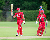 ICC World T20 Qualifier (Warm up match) - Canada V Namibia at Heriots CC, Edinburgh - Canada opener Rizwan Cheema signals his 50, before going on to make 98 off 35 balls — credit @ICC/Donald MacLeod - 06.7.15 - 07702 319 738 -clanmacleod@btinternet.com - www.donald-macleod.com