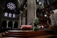 Former President George W. Bush speaks during the State Funeral for his father, former President George H.W. Bush, at the National Cathedral, Wednesday, Dec. 5, 2018, in Washington.<br /> CAP/MPI/RS<br /> &copy;RS/MPI/Capital Pictures