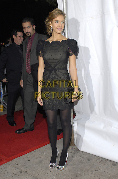 "JESSICA ALBA.The New York Observer sponsors the New York premiere of ""Awake"" at Chelsea West Cinema, New York, New York, USA..November 14th, 2007. full length lace dress silver bracelet clutch black sheer tights shoes.CAP/ADM/BL.©Bill Lyons/AdMedia/Capital Pictures. *** Local Caption ***"