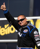 Nov 10, 2013; Pomona, CA, USA; The number one qualifier NHRA top fuel dragster driver Brandon Bernstein during the Auto Club Finals at Auto Club Raceway at Pomona. Mandatory Credit: Mark J. Rebilas-