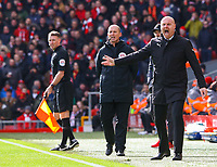 Burnley manager Sean Dyche shouts instructions to his team from the technical area<br /> <br /> Photographer Alex Dodd/CameraSport<br /> <br /> The Premier League - Liverpool v Burnley - Sunday 10th March 2019 - Anfield - Liverpool<br /> <br /> World Copyright © 2019 CameraSport. All rights reserved. 43 Linden Ave. Countesthorpe. Leicester. England. LE8 5PG - Tel: +44 (0) 116 277 4147 - admin@camerasport.com - www.camerasport.com