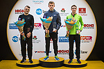 © Joel Goodman - 07973 332324. 15/10/2017 . Manchester , UK . Men's winners L-R MATT CLOWES (3rd) , LUKE TRAYNOR (1st) and PETER HUCK (2nd) on the podiums at the end of the Greater Manchester Half Marathon in Old Trafford . Photo credit : Joel Goodman
