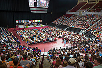 Mississippi State officially welcomed first-time freshmen and transfer students to the Bulldog family Tuesday [Aug. 28] during its fifth Fall Convocation at Humphrey Coliseum. Featured speaker for the event was MSU accounting alumnus John Grisham, the world-renowned, best-selling author of MSU's 10th Maroon Edition book selection, &ldquo;Calico Joe.&rdquo; Click here to view more photos from Fall Convocation 2018.<br />  (photo by Beth Wynn / &copy; Mississippi State University)