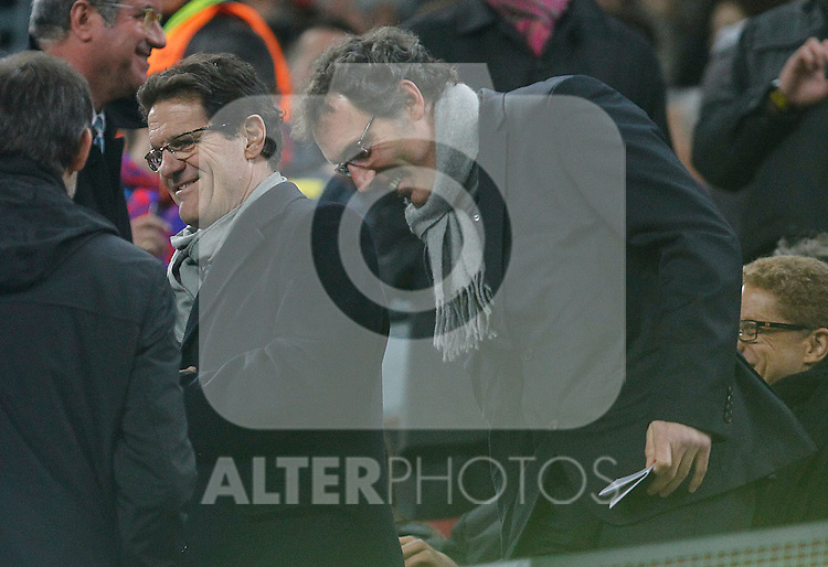 France's coach Laurent Blanc (r) and Endgland's coach fabio Capello during UEFA Champions League match.March 8,2011. (ALTERPHOTOS/Acero)