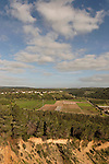 Israel, Mount Carmel. Moshav Kerem Maharal and Shir valley as seen from Ofer forest scenic road