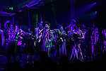 "Rob McClure, Sophia Anne Caruso, Alex Brightman, Kerry Butler, Leslie Kritzer and Jill Abramovitz during the Broadway Opening Night Performance Curtain Call for ""Beetlejuice"" at The Winter Garden on April 25, 2019 in New York City."